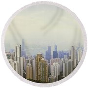 Skyscrapers In A City, Hong Kong, China Round Beach Towel by Panoramic Images