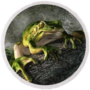 Smiling Frog Round Beach Towel by Daniel Eskridge