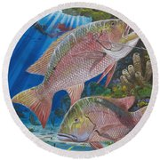 Snapper Spear Round Beach Towel by Carey Chen