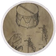 Snare Drum Patent Round Beach Towel by Dan Sproul