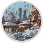 Snow And Sun Round Beach Towel by Ylli Haruni