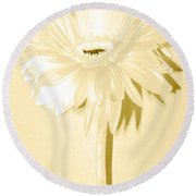 Snow Flake Zinnia Round Beach Towel by Sherry Allen