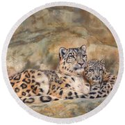 Snow Leopards Round Beach Towel by David Stribbling