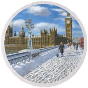 Snow On Westminster Bridge Round Beach Towel by Richard Harpum