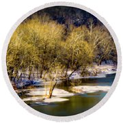 Snowy River Round Beach Towel by Karen Wiles