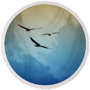 Soaring Eagles Round Beach Towel by Bill Cannon