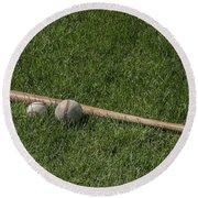 Softball Baseball And Bat Round Beach Towel by Bill Cannon
