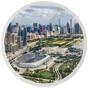 Soldier Field And Chicago Skyline Round Beach Towel by Adam Romanowicz