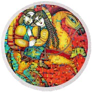 Sonata For Two And Unicorn Round Beach Towel by Albena Vatcheva