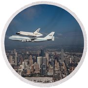 Space Shuttle Endeavour Over Houston Texas Round Beach Towel by Movie Poster Prints