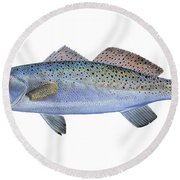 Speckled Trout Round Beach Towel by Carey Chen