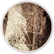 Spider Webs Round Beach Towel by Anonymous