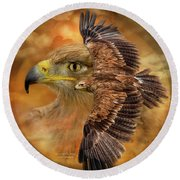 Spirit Of The Wind Round Beach Towel by Carol Cavalaris