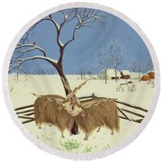 Spring In Winter Round Beach Towel by Magdolna Ban