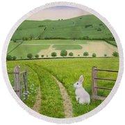 Spring Rabbit Round Beach Towel by Ditz