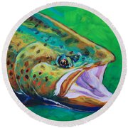 Spring Time Brown Trout- Fly Fishing Art Round Beach Towel by Savlen Art