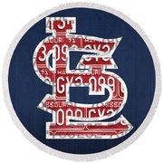 St. Louis Cardinals Baseball Vintage Logo License Plate Art Round Beach Towel by Design Turnpike