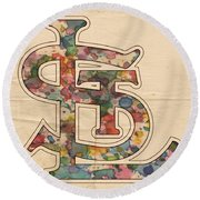 St Louis Cardinals Logo Vintage Round Beach Towel by Florian Rodarte