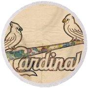 St Louis Cardinals Poster Art Round Beach Towel by Florian Rodarte