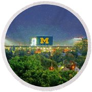Stadium At Night Round Beach Towel by John Farr