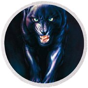 Stalking Panther Round Beach Towel by Andrew Farley