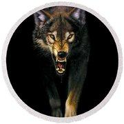 Stalking Wolf Round Beach Towel by MGL Studio - Chris Hiett
