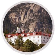 Stanley Hotel Estes Park Round Beach Towel by Marilyn Hunt