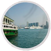 Star Ferry On A Pier With Buildings Round Beach Towel by Panoramic Images