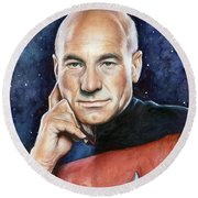 Captain Picard Portrait Round Beach Towel by Olga Shvartsur