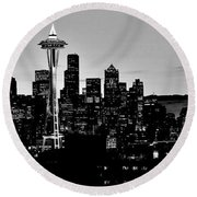 Stark Seattle Skyline Round Beach Towel by Benjamin Yeager
