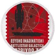 Starschips 02-poststamp - Battlestar Galactica Round Beach Towel by Chungkong Art
