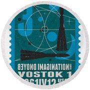 Starschips 03-poststamp - Vostok Round Beach Towel by Chungkong Art