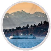 State Ferry And The Olympics Round Beach Towel by Inge Johnsson