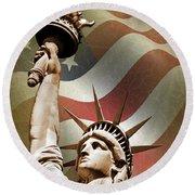 Statue Of Liberty Round Beach Towel by Mark Rogan
