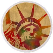 Statue Of Liberty Watercolor Portrait No 2 Round Beach Towel by Design Turnpike
