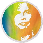 Steven Tyler Canvas Round Beach Towel by Dan Sproul