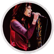 Steven Tyler In Aerosmith Round Beach Towel by Paul Meijering