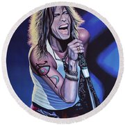 Steven Tyler Of Aerosmith Round Beach Towel by Paul Meijering