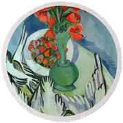 Still Life With Seagulls Poppies And Strawberries Round Beach Towel by Ernst Ludwig Kirchner