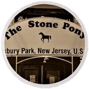 Stone Pony Enter Here Round Beach Towel by Paul Ward