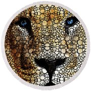 Stone Rock'd Lion 2 - Sharon Cummings Round Beach Towel by Sharon Cummings