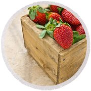 Strawberries Round Beach Towel by Edward Fielding