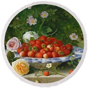 Strawberries In A Blue And White Buckelteller With Roses And Sweet Briar On A Ledge Round Beach Towel by William Hammer