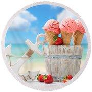 Strawberry Fruit Ice Cream Round Beach Towel by Amanda Elwell