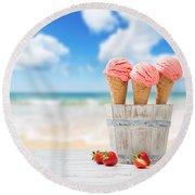 Strawberry Ice Creams Round Beach Towel by Amanda Elwell