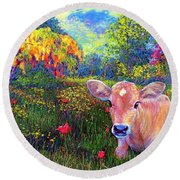 Such A Contented Cow Round Beach Towel by Jane Small