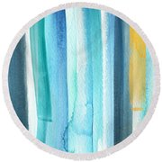 Summer Surf- Abstract Painting Round Beach Towel by Linda Woods