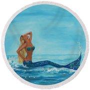 Sunbathing Mermaid Round Beach Towel by Leslie Allen