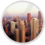 Sunrise On Chicago Round Beach Towel by Jon Neidert