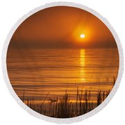 Sunrise Through The Fog Round Beach Towel by Scott Norris